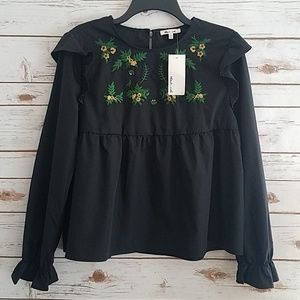 Bleuh Ciel | Embroidered Boho Blouse